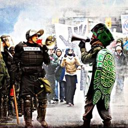 Turtle-and-cop_380-Battle-of-Seattle