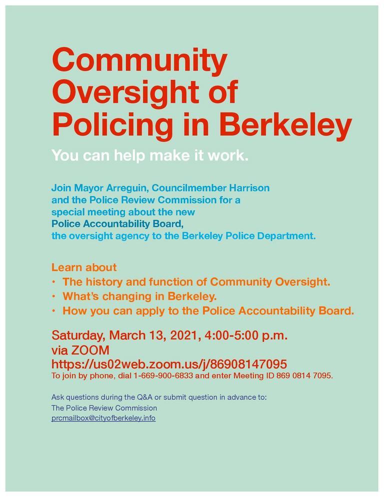 Berkeley Community Policing Webinar @ Online