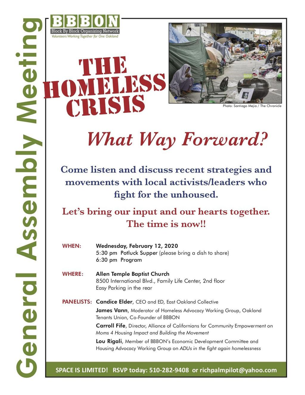 """The Homeless Crisis: What Way Forward?"" @ Allen Temple Baptist Church, Family Life Center, 2nd Floor"
